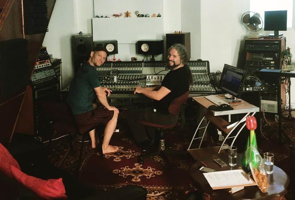 Simon Ratcliffe in studio with recording artist